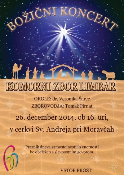Vabilo na Božični koncert Komornega zbora Limbar 2014